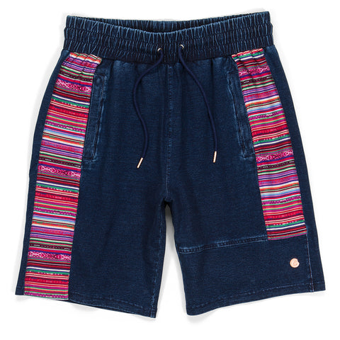 Peruvian Indigo Washed Striped Shorts