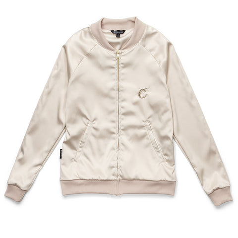 Womens Satin Zip-up Jacket (Gold)