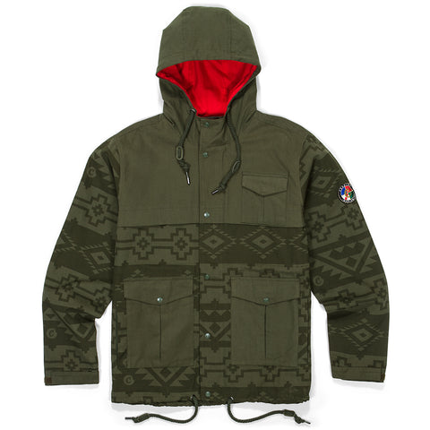 Tahoe Native Print Hooded Jacket (Olive)