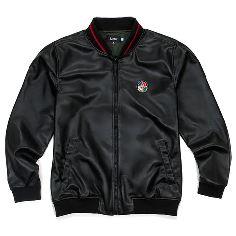 Tahoe Faux Leather Baseball Jacket (Black)