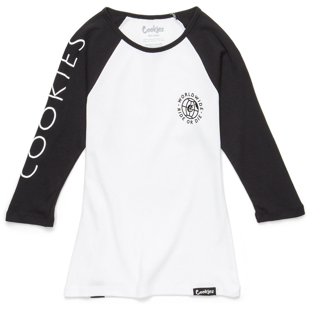 Womens Ride Or Die Raglan (White/Black)