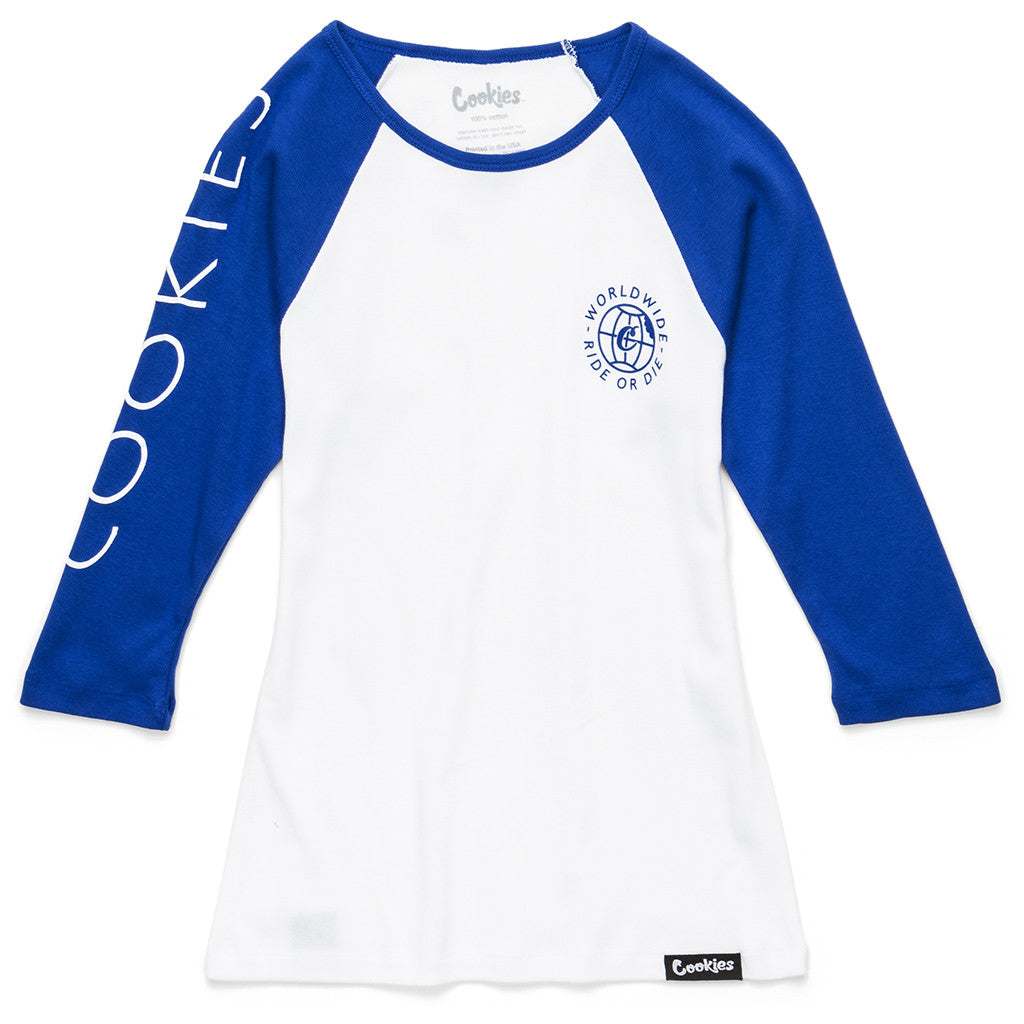 Womens Ride Or Die Raglan (White/Royal)