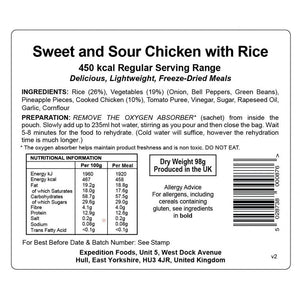 Expedition Foods Sweet and Sour Chicken with Rice