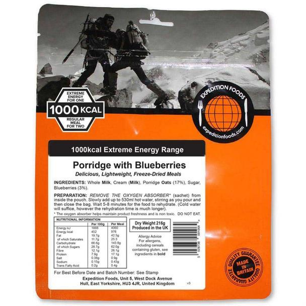 Expedition Foods Porridge with Blueberries (1000kcal) - Freeze Dried Meal