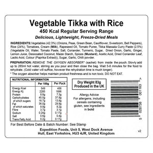 Expedition Foods Vegetable Tikka with Rice