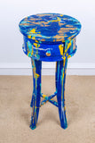 Painting on restored Table - Blue and gold
