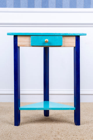 Hand Painted Corner table - Blue and gold
