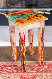 Painting on tea table - blown pattern