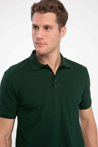 DeFacto Summer Dark Green Mens Short-Sleeved Solid Color Polos Shirts Male Casual Lapel Polos K0337AZ19SMGN245