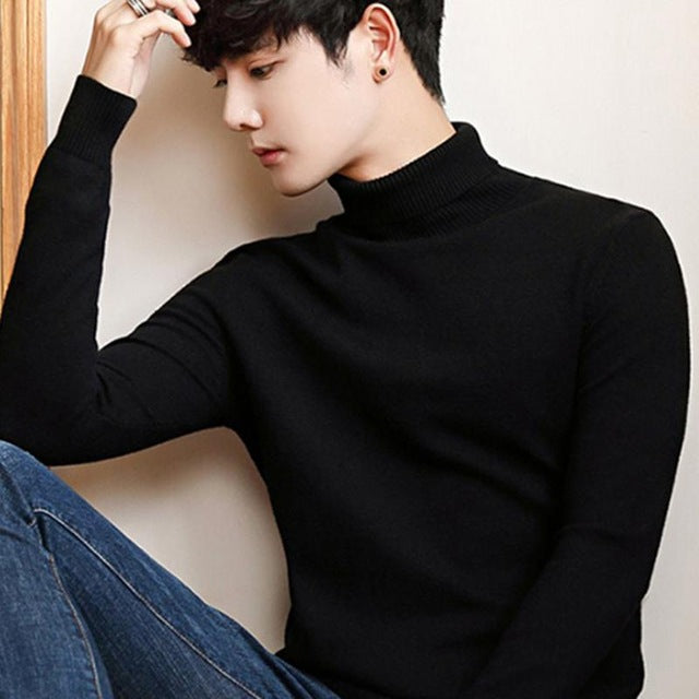Black Turtleneck Men Knitted Sweater Classic Solid Color Casual Elasticity Pullover Men Sweaters Turtle Neck Long Sleeve