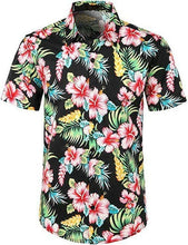 Charger l'image dans la galerie, Fashion Hot Sale Men Hawaiian Flower-print Short Sleeve Summer Beach Style Lapel Shirts Holiday Casual Comfortable clothes S-XXL