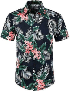 Fashion Hot Sale Men Hawaiian Flower-print Short Sleeve Summer Beach Style Lapel Shirts Holiday Casual Comfortable clothes S-XXL