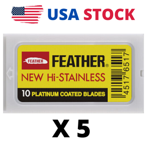 50 FEATHER New Hi-Stainless Platinum DE Blades