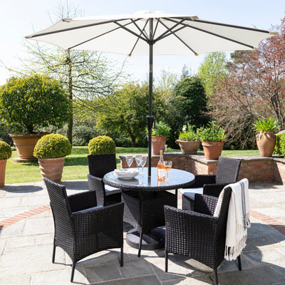 Table de Jardin en Rotin Ronde 4 places avec Parasol Noir - Laura James