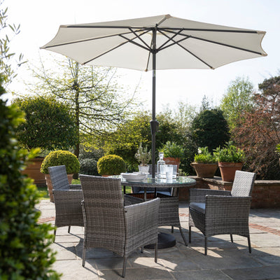 Table Ronde de Jardin en Rotin 4 places avec Parasol - Gris - Laura James