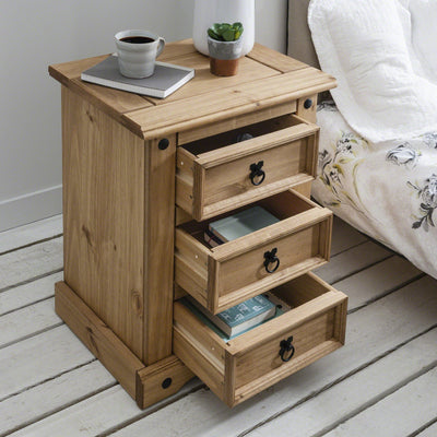 Corona Bedside Table - 3 Drawers - Laura James