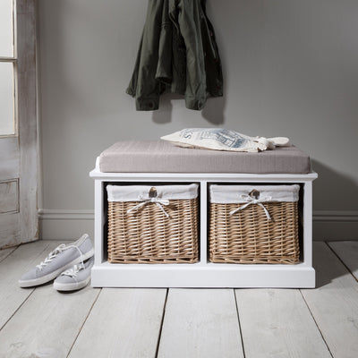 Fyfield Hallway Shoe Storage Bench in White with cushion - In Stock Date - 27th May 2020 - Laura James