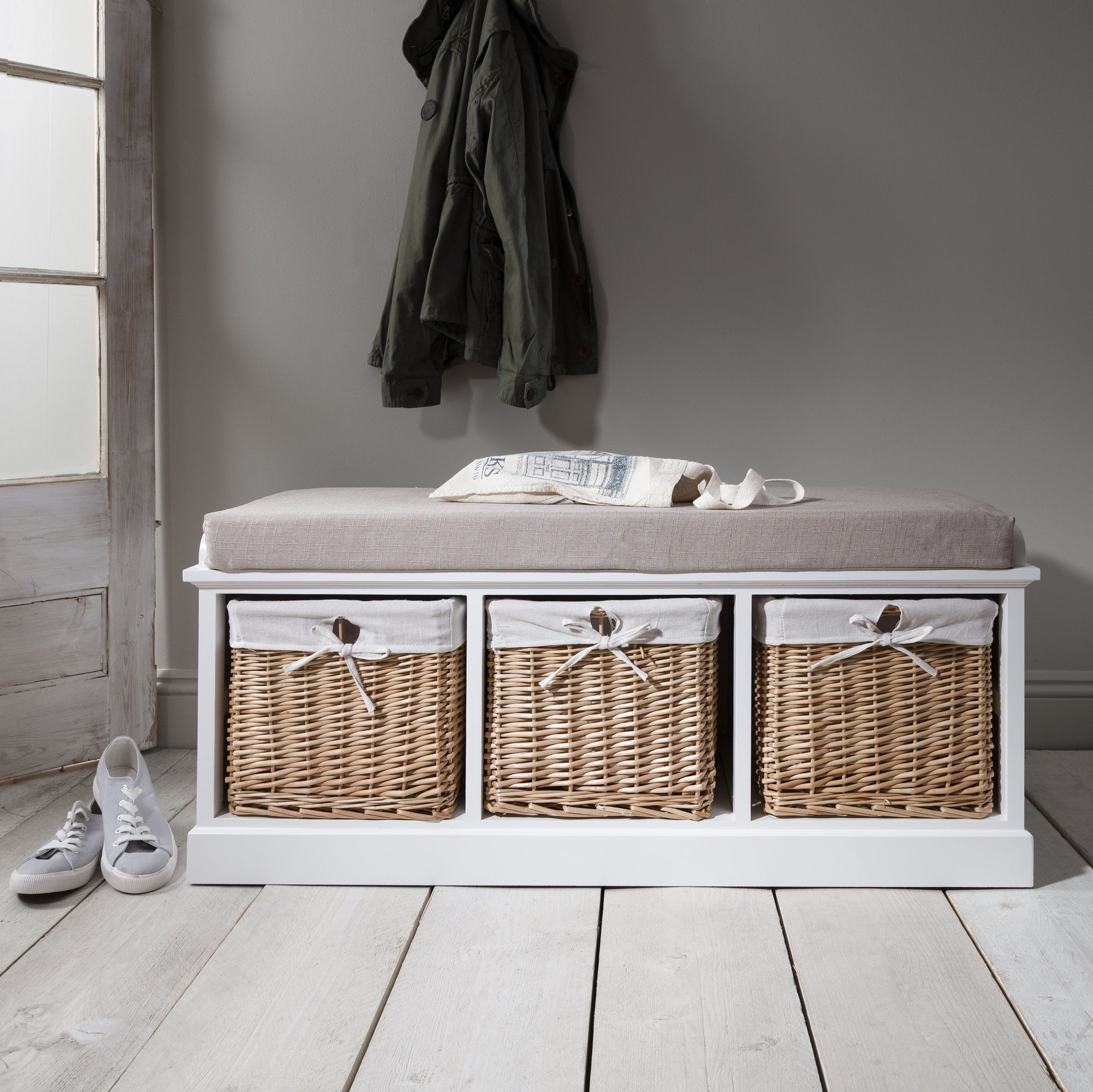 Fyfield Hallway Storage Bench in White with cushion - In Stock Date - 27th May 2020 - Laura James