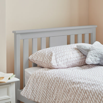 Grey wooden single bed