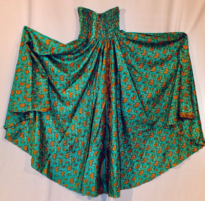 #270 Emerald green with all over print in soft orange and gold