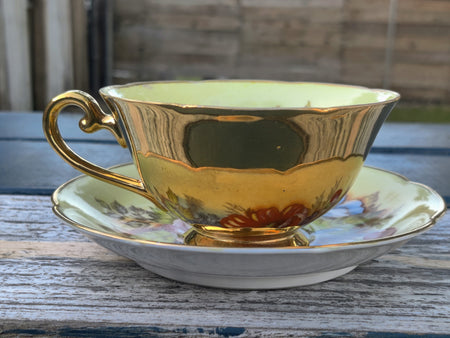 Vintage GZL Gold Floral Tea Cup and Saucer