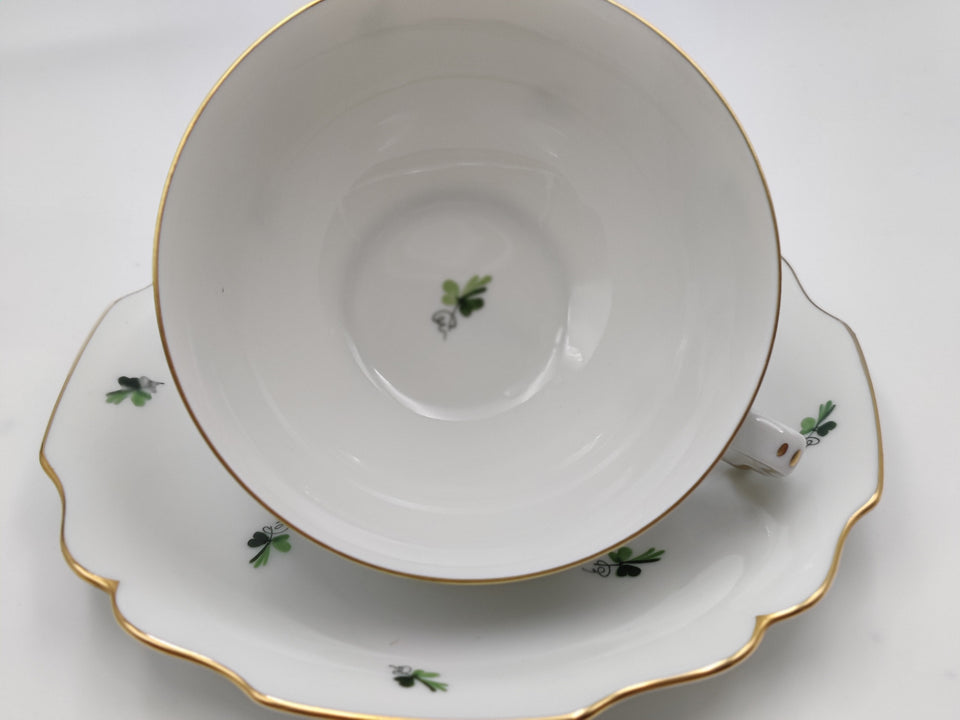 Vintage Augarten Wein White with Green Clovers Tea Cup and Saucer