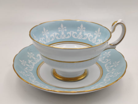 Vintage Tiffany Co. Baby Blue and White Tea Cup and Saucer