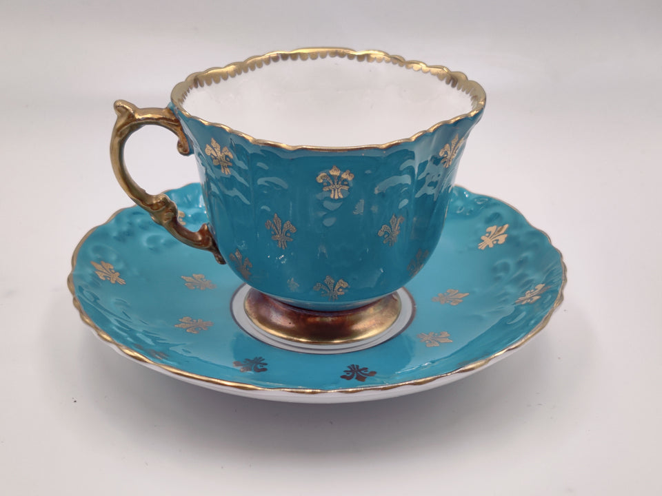 Vintage Aynsley Bright Blue and Gold Tea Cup and Saucer