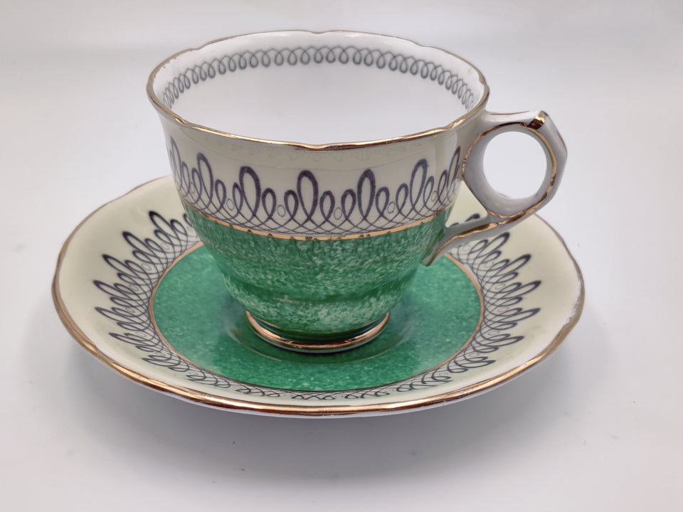 Vintage Royal Stafford Kelly Green and Cream Tea Cup and Saucer
