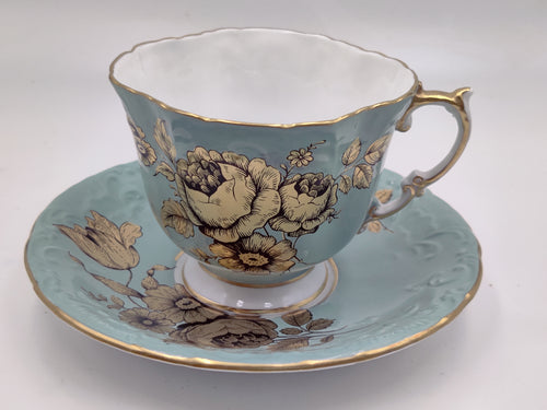 Vintage Aynsley Light Blue with Gold Floral Design Tea Cup and Saucer