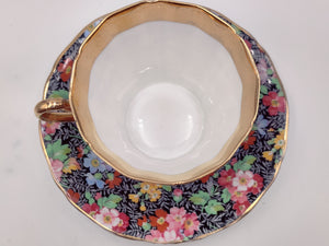Vintage Adderley Black Floral Tea Cup and Saucer