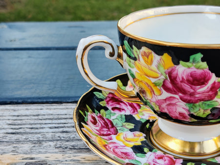 Vintage Tuscan Black Floral Tea Cup and Saucer