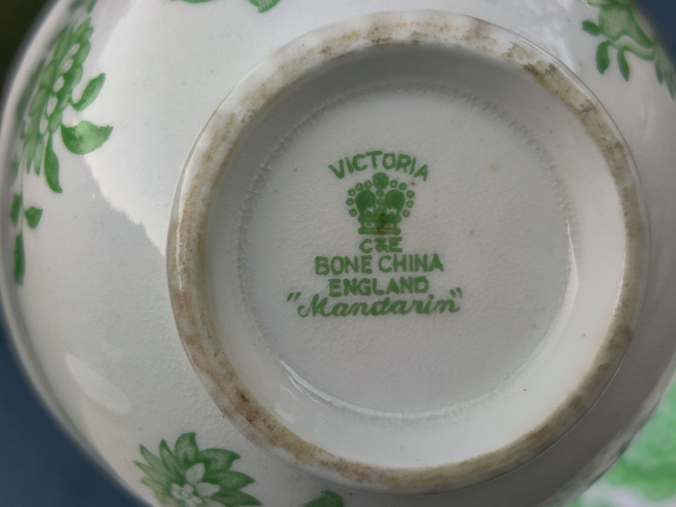 "Vintage Victoria ""Mandarin"" White and Green Floral Tea Cup and Saucer"