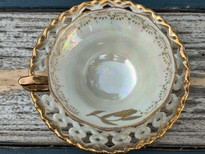 Vintage Royal Sealy Black and Pearl Tea Cup and Saucer