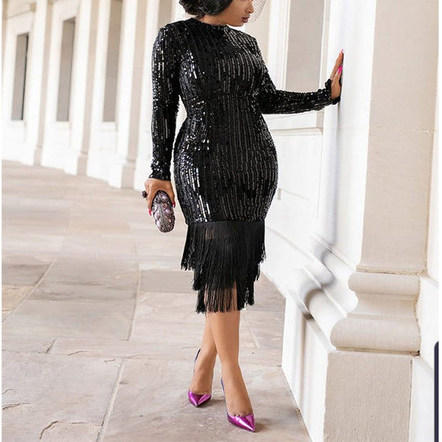 Fashionable High Elastic Sequin Fringed Dress