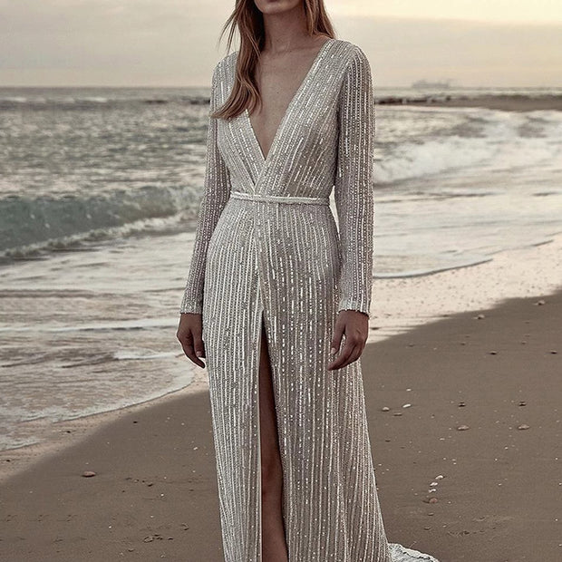 Sexy Long Sleeved Deep V Sequin Evening Dress