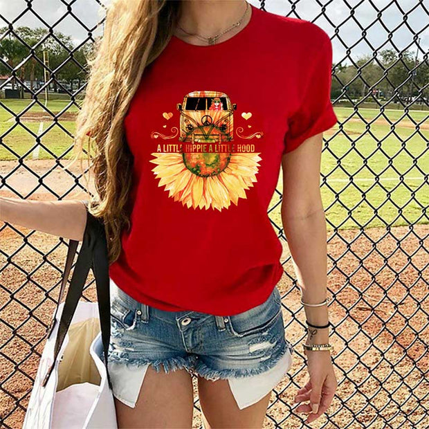 Car And Sunflower Printed Casual T-Shirt