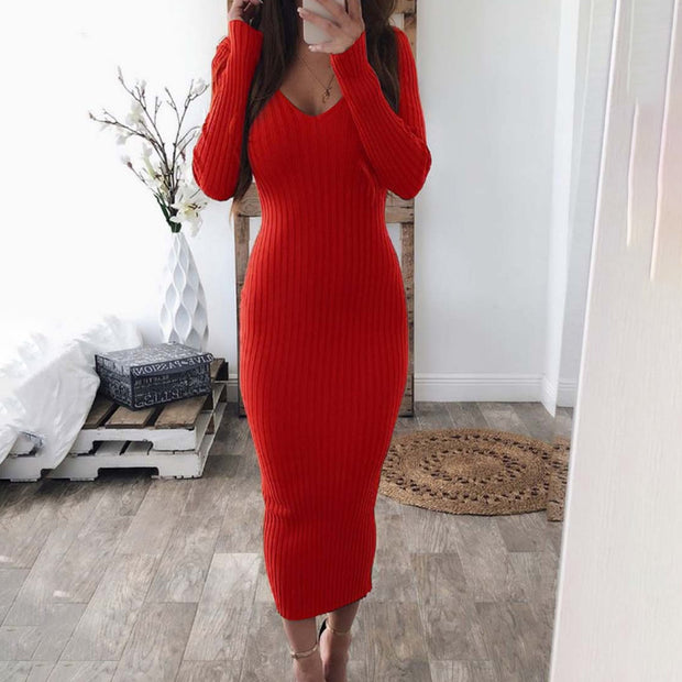 Fashion Sexy V-Neck Long Sleeve Solid Color Dress
