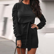 Simple Casual Solid Color Long-Sleeved Tie Dress