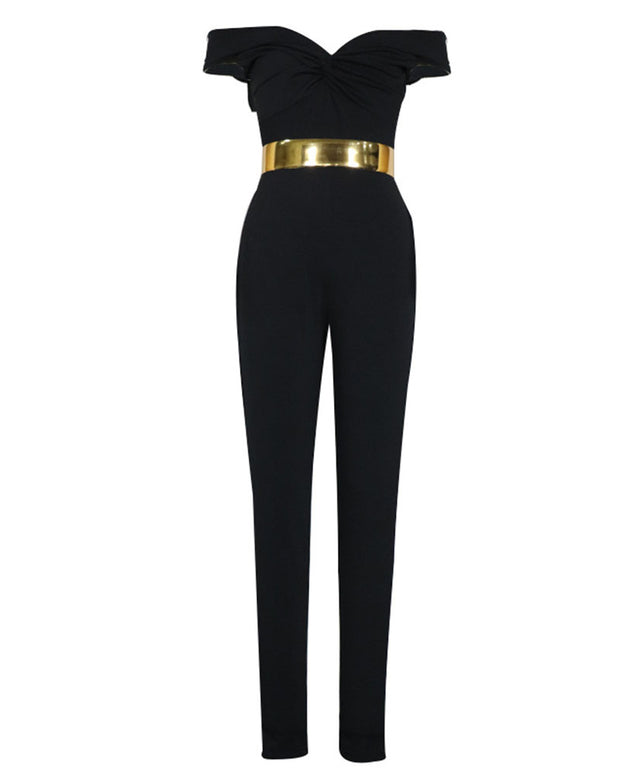 Sexy Off-The-Shoulder Solid Color Slim Fit Jumpsuit