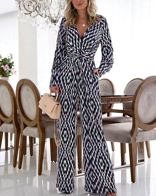 Printed V-neck Casual Jumpsuit