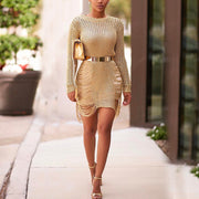 Fashion Sexy Solid Color Hollow Wool Knitted Dress