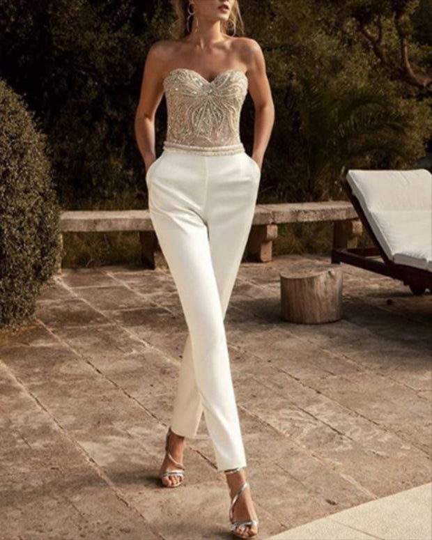 Off-the-shoulder Sleeveless Sequin Slim-fit Party Jumpsuit