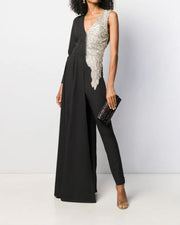 Sexy Deep V Slim Color Block Jumpsuit