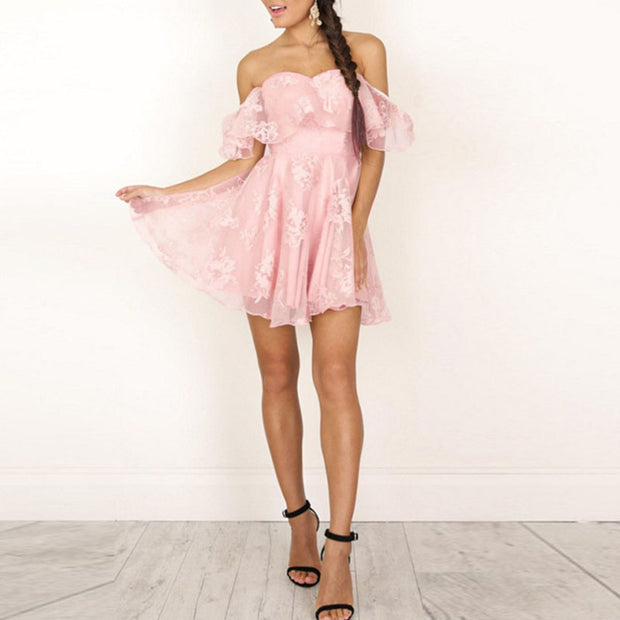 Ruffled Off-shoulder Casual Mini Dress
