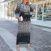 Sequined Long Sleeve Maxi Bodycon Evening Dress
