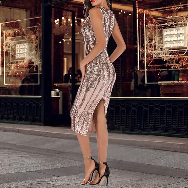Sexy Slim Slimming Exquisite Sequin Sleeveless Dress