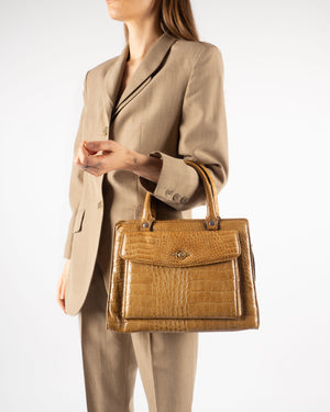 Camel Embossed Handbag