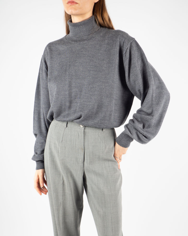 Gray Knitted Turtleneck