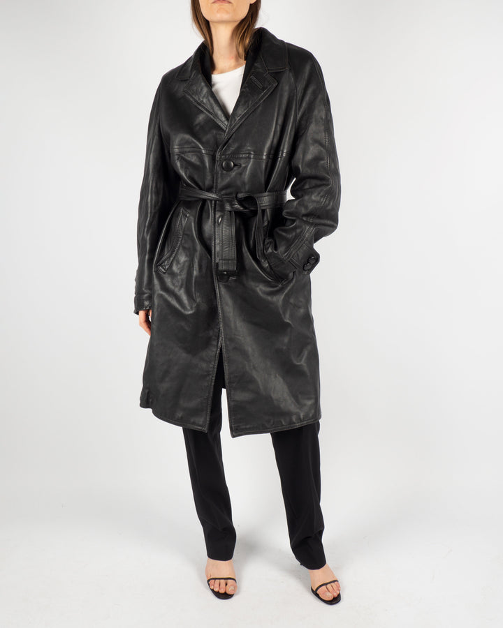 Black Leather Trench